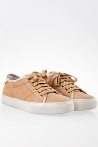 Tod's Nude Suede Sneakers with Golden Metallic Leather / Size: 38.5 - Fit: True to size
