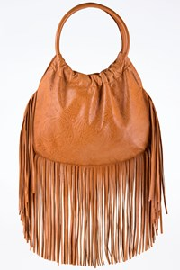 Tan Fringed Leather Shoulder Bag