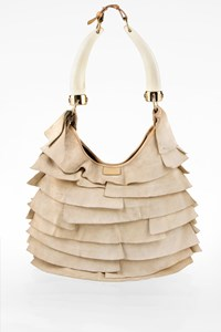 Yves Saint Laurent Ecru St. Tropez Mombasa Ruffled Suede Hobo Bag