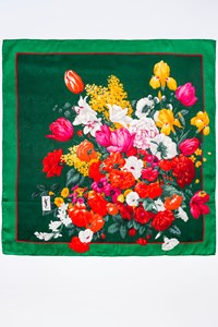YSL Green Scarf with Flower Print