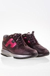 Hogan Interactive Aubergine Leather Sneakers / Size: 36.5 - Fit: 37.5