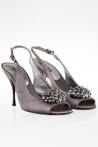 Prada Grey Satin Crystal Embroidered Slingbacks / Size: 38 - Fit: 38.5
