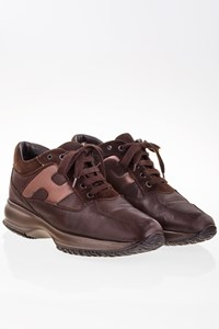 Hogan Interactive Brown Leather Sneakers / Size: 38.5 - Fit: 39.5