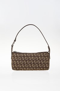 Fendi Brown-Beige Zucchino Canvas Pochette Bag
