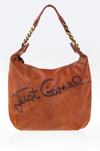 Just Cavalli Tan Leather Logo Shoulder Bag