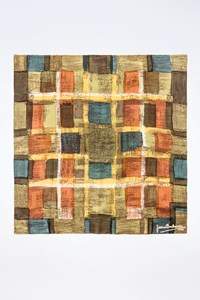 Pierre Balmain Multicolor Scarf with Square Patterns