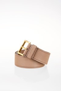 Prada Beige Leather Belt with Golden Buckle