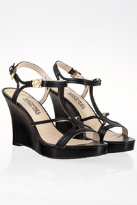 MICHAEL Michael Kors Cicely Black Leather Wedge Sandals / Size: 6 (36) - Fit: True to size