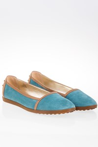 Tod's Light Blue-Beige Suede Ballerinas / Size: 39.5 - Fit: 40.5