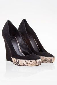 Tory Burch Black Suede-Snakeskin Effect Platforms / Size: 8 (38) - Fit: 38.5