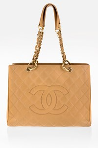 Chanel Beige Timeless Caviar Leather Grand Tote Bag