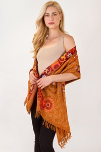 Idea Plus Tan Wool Shawl with Silk Trim