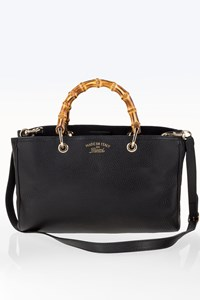 Gucci Black Leather Bamboo Top Medium Bag