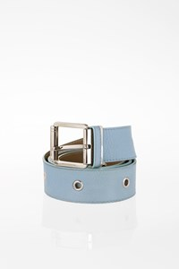 Burberry Light Blue Leather Belt with Silver Hardware