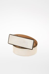 Just Cavalli Off White Logo Leather Belt