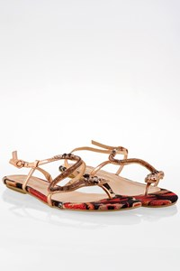 Luiza Barcelos Rose Gold Rasteirinha Cobra Leather Sandals / Size: 41 - Fit: 39.5