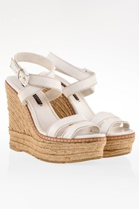 Ralph Lauren Collection White Leather Platforms with Raffia / Size: 6 (36) - Fit: 36.5