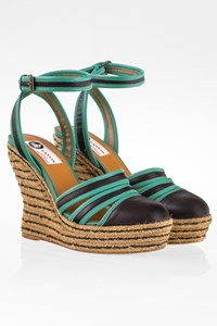Lanvin Black-Green Leather Platforms with Raffia / Size: 36 - Fit: 36.5