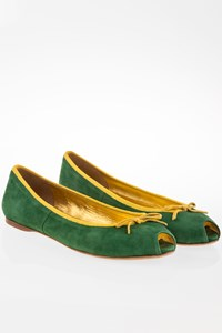 Prada Green Suede Peep-Toe Ballerinas / Size: 39 - Fit: True to size
