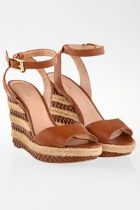 MICHAEL Michael Kors Tan Leather Platform Sandals / Size: 8.5 (38.5) - Fit: 39