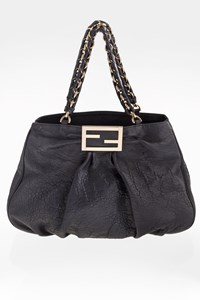Fendi Borsa Mia Agnello Blue Leather Large Tote Τσάντα