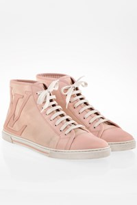Louis Vuitton Light Pink Leather Canvas High Top Sneakers / Size: 39.5 - Fit: True to size
