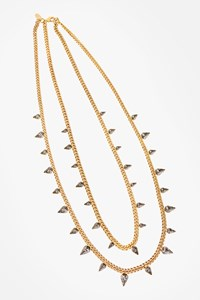 Elizabeth Cole Gold Plated Necklace with Double Chain and Grey Stones