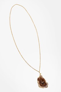 Dara Ettinger Gold Plated Long Necklace with Semi Precious Stone