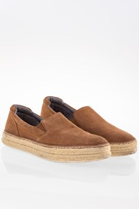 Massimo Dutti Tan Suede Slip On Shoes with Raffia / Size: 37 - Fit: 36.5
