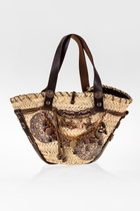 Save The Queen Raffia Bag with Metallic and Leather Details