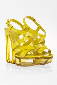 Casadei Lime Green Patent Leather Sandals with Plexiglass Platform / Size: 10(40) - Fit: 39
