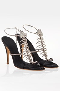 Giuseppe Zanotti Black Satin Fishbone Sandals / Size: 39 - Fit: 38.5