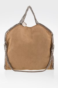 Stella McCartney Sandy Beige Falabella Shiny Fold Over Shoulder Bag