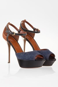 Sergio Rossi Denim and Leather Peep-Toe Sandals / Size: 39.5 - Fit: 39
