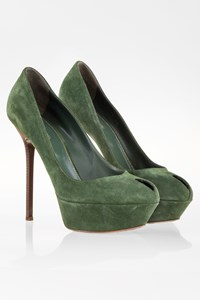 Sergio Rossi Forest Green Suede Pumps with Wooden Heel / Size: 39 - Fit: True to size