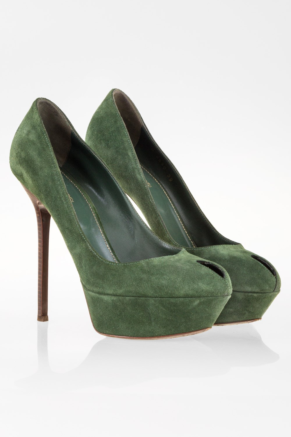 4ce4437db92 Forest Green Suede Pumps with Wooden Heel   Size  39 - Fit  True to ...