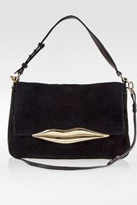 DVF Black Suede Lips Shoulder Bag