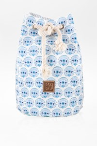 Lazy Dayz White-Blue Printed Beach Bag