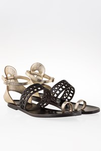 Di Gaia Sophia Black-Gold Ankle-Strap Sandals / Size: 40 - Fit: 39
