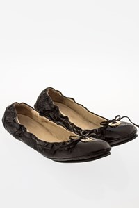 Fendi Black Vernice Naplak Patent Leather Ballerina Flats / Size: 39.5 - Fit: 39 (Tight)