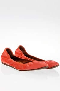 Lanvin Peach Patent Leather Ballerinas / Size: ? - Fit: 39