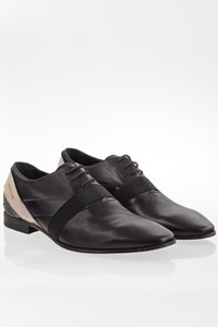 Rodolfo Zengarini Black Leather Lace-Up Shoes with Patent Leather / Size: 42 - Fit: True to size