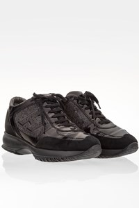 Hogan Black Interactive Sneakers with Embossed Patern / Size: 36.5- Fit: 37.5