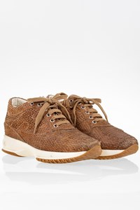 Hogan Tan Interactive Snakeskin Sneakers / Size: 36 - Fit: 37