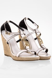 Burberry Heritage White Leather Espadrille Wedges / Size: 39 - Fit: True to size