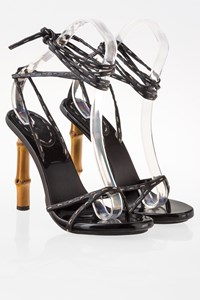 Gucci Black Ankle Strap Bamboo Heel Sandals / Size: ? - Fit: 39.5