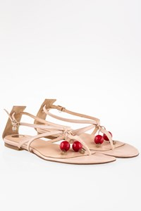 Elisabetta Franchi Nude Leather Sandals with Decorative Cherries / Size: 40 - Fit: 39.5