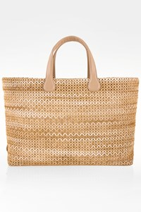 Rodo Raffia Tote Bag with Leather Details