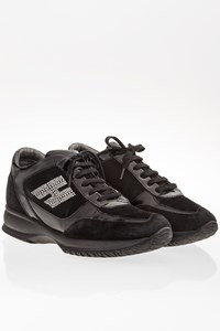 Hogan Black Suede Interactive Sneakers with Crystals / Size: 38.5 - Fit: 39.5