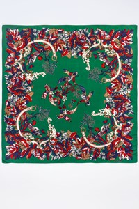 Valentino Multicoloured Printed Scarf with Flowers and Birds